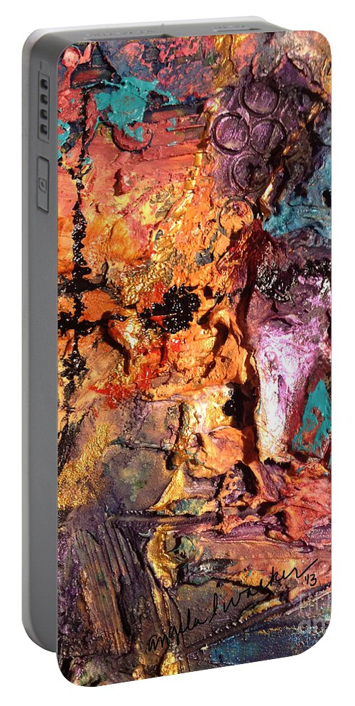 Mixed Media Portable Battery Charger featuring the painting Aftermath II by Angela L Walker