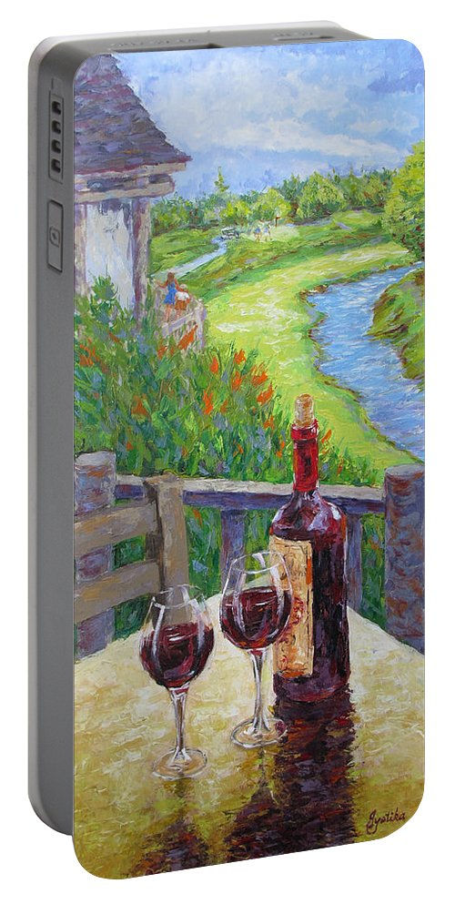 Wine Portable Battery Charger featuring the painting Finest Hour by Jyotika Shroff