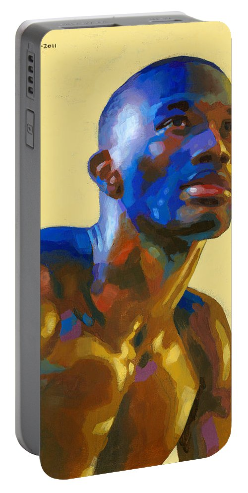 Black Portable Battery Charger featuring the painting Afternoon Colors by Douglas Simonson