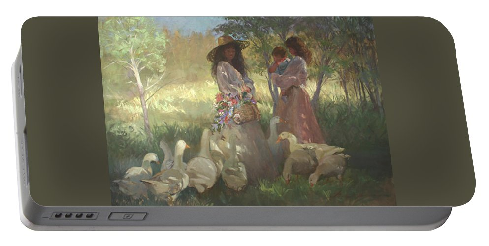 Women Portable Battery Charger featuring the painting Afternoon Gathering by Betty Jean Billups