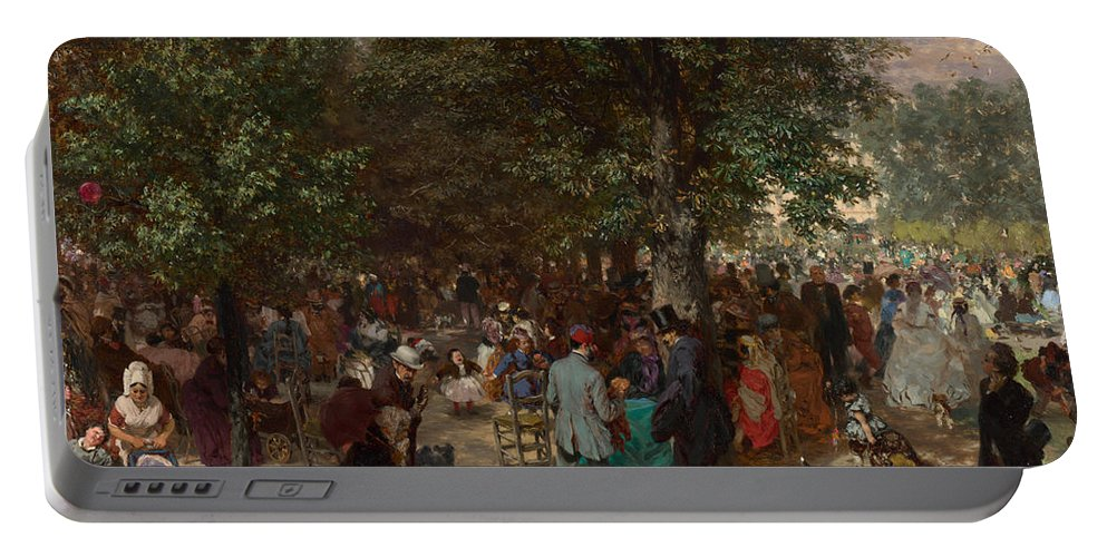 Afternoon In The Tuileries Gardens Portable Battery Charger featuring the painting Afternoon In The Tuileries Gardens by Adolph Friedrich Erdmann von Menzel