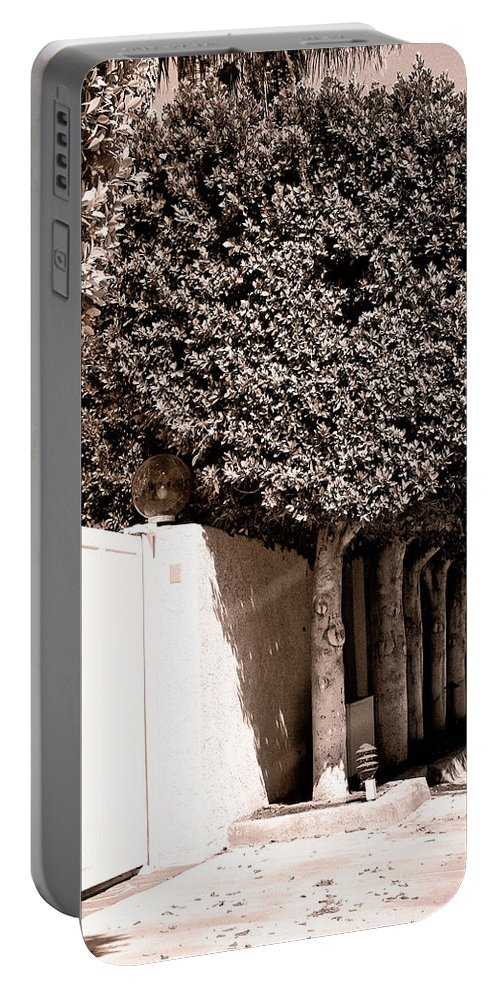 Movie Colony Homes Portable Battery Charger featuring the photograph Afternoon Sun Bw Palm Springs by William Dey