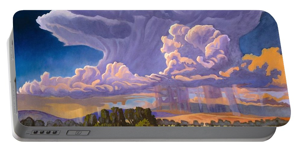 New Mexico Portable Battery Charger featuring the painting Afternoon Thunder by Art West