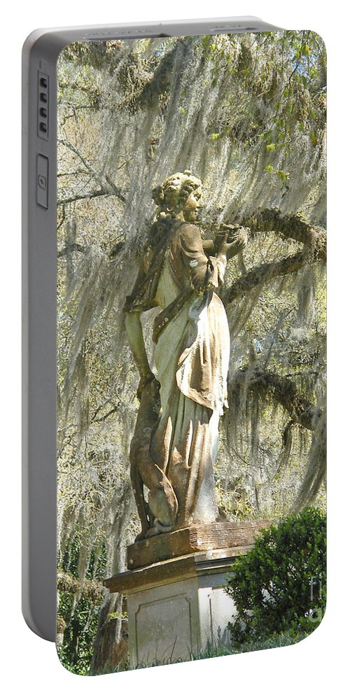 Afton Portable Battery Charger featuring the photograph Afton Plantation Villa Statuary by Lizi Beard-Ward