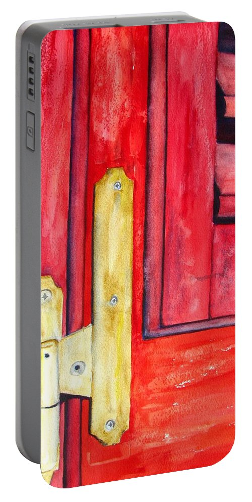 Window Shutter Portable Battery Charger featuring the painting Aged Window Shutter Hinge by Carlin Blahnik CarlinArtWatercolor