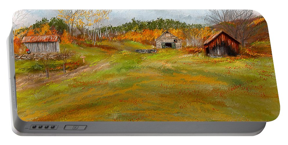 Farmhouse At Robinson Farm Portable Battery Charger featuring the painting Aged With Character-farm Life by Lourry Legarde