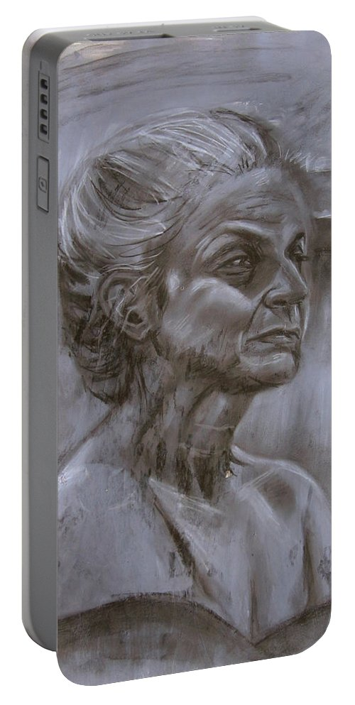 Old Portable Battery Charger featuring the painting Aged Woman by Samantha Geernaert