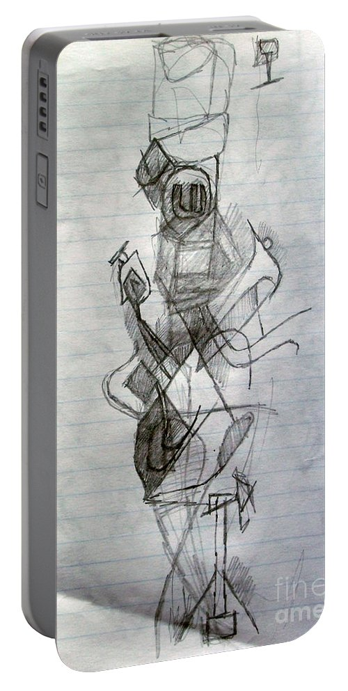 Torah Portable Battery Charger featuring the drawing Self-renewal 23 by David Baruch Wolk