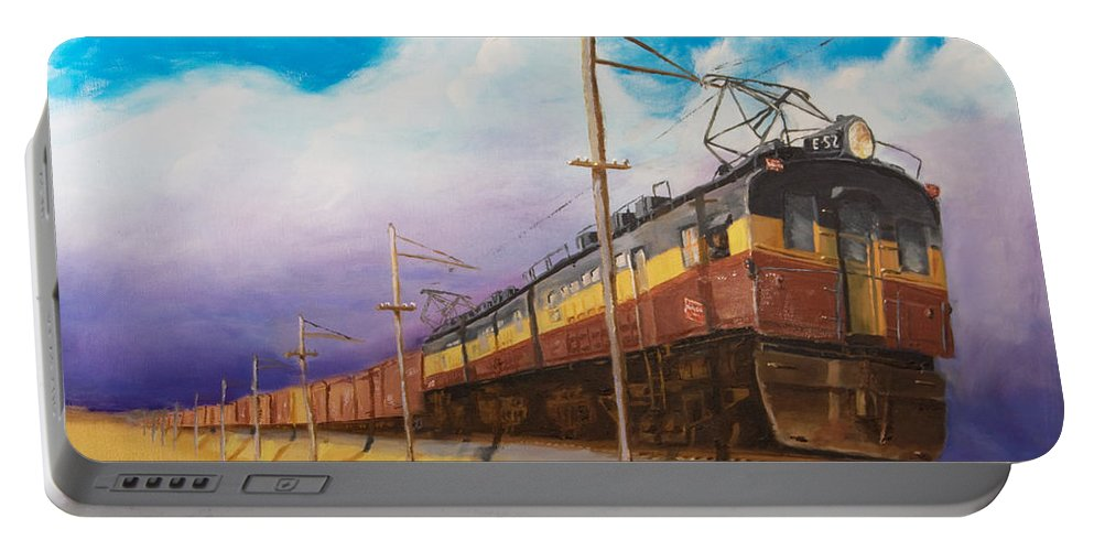 Electric Locomotive Portable Battery Charger featuring the painting Ahead Of The Weather by Christopher Jenkins