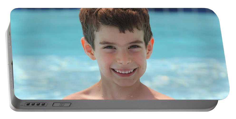 Portable Battery Charger featuring the photograph Aidan At The Pool by Jean Macaluso