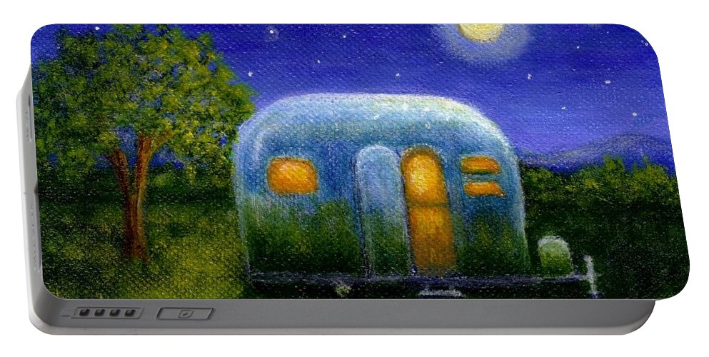 Air Stream Portable Battery Charger featuring the painting Airstream Camper Under The Stars by Sandra Estes