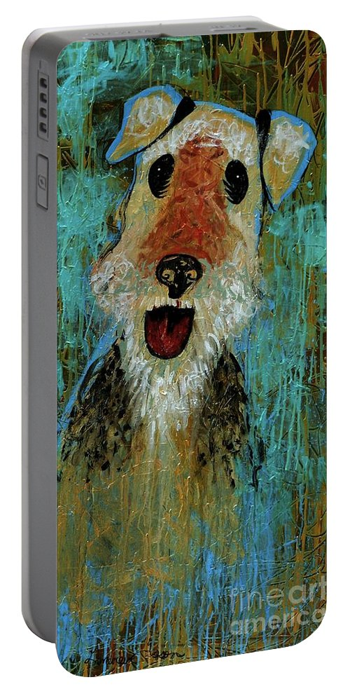Airedale Terrier Portable Battery Charger featuring the painting Airedale Terrier by Genevieve Esson