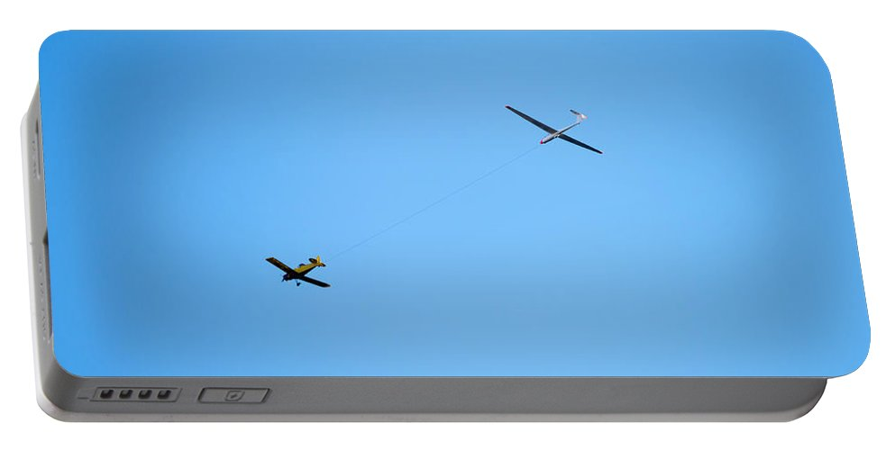 Airplane Portable Battery Charger featuring the photograph Airplane And Glider by Mats Silvan
