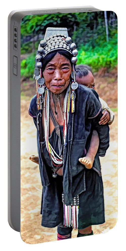 Hill Tribe Portable Battery Charger featuring the photograph Akha Tribe Paint Filter by Steve Harrington