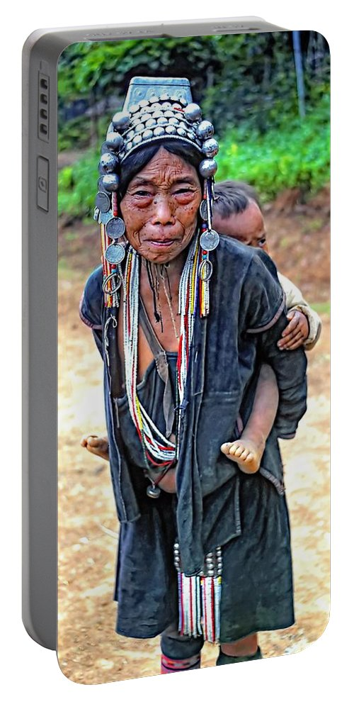 Hill Tribe Portable Battery Charger featuring the photograph Akha Tribe by Steve Harrington