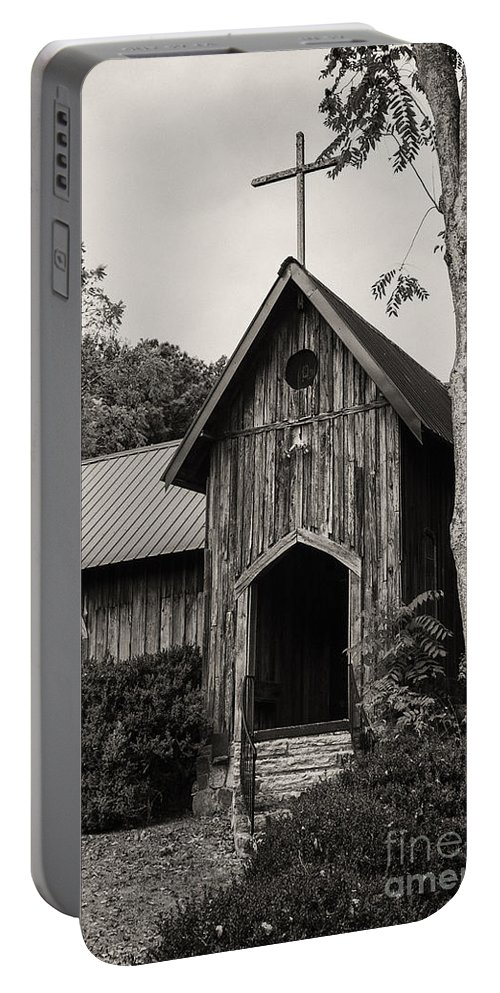 St. Joseph's-on-the-mount Episcopal Church Mentone Alabama Wooden Churches Cross Crosses Building Buildings Structure Structures Place Places Of Worship Early American Architecture Door Doors Window Windows Black And White Sepia Portable Battery Charger featuring the photograph Alabama Country Church 3 by Bob Phillips