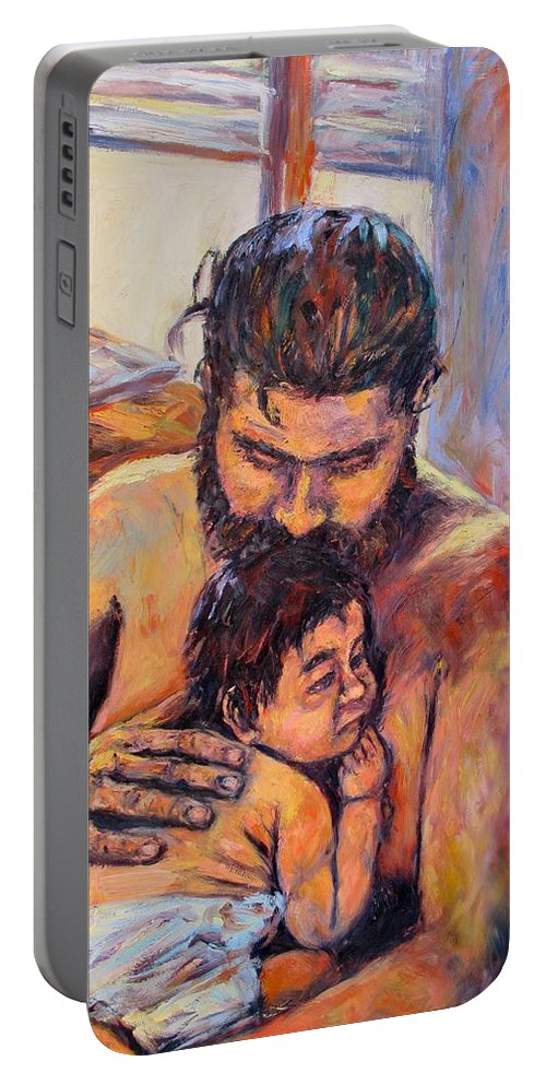 Kendall Kessler Portable Battery Charger featuring the painting Alan And Clyde by Kendall Kessler