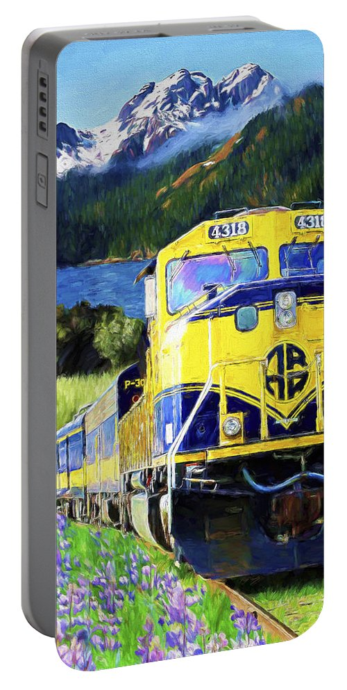 Railroad Portable Battery Charger featuring the painting Alaska Railroad by David Wagner