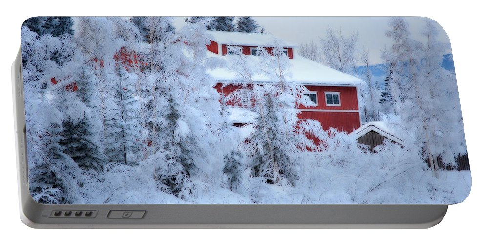 Red Portable Battery Charger featuring the photograph Alaskaland Train Station I by Kathy Sampson