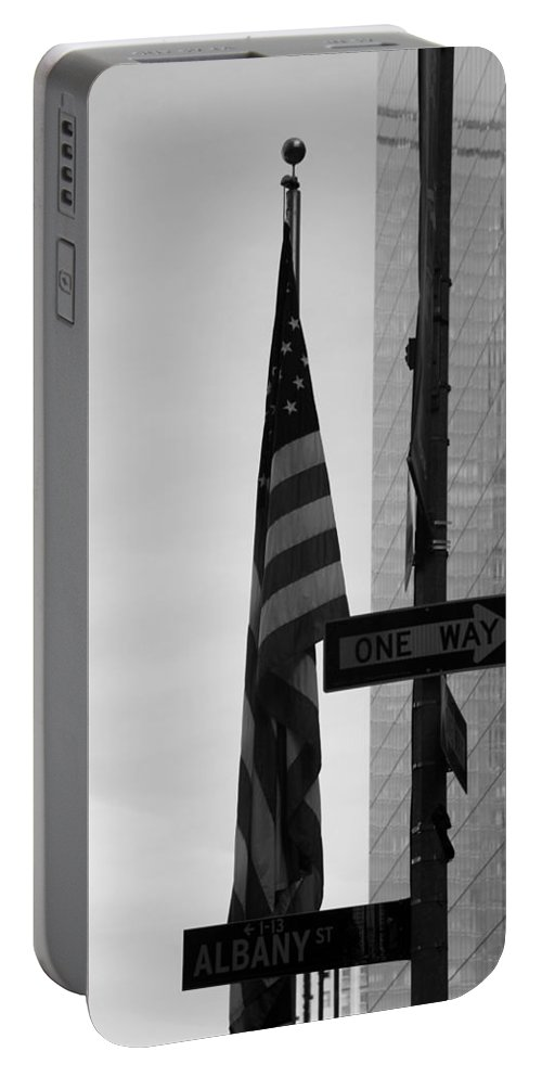 Wtc Portable Battery Charger featuring the photograph Albany Street In Black And White by Rob Hans