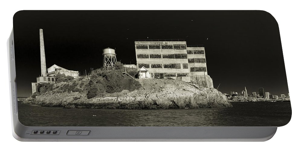 Alcatraz Portable Battery Charger featuring the photograph Alcatraz The Rock Sepia 2 by Scott Campbell