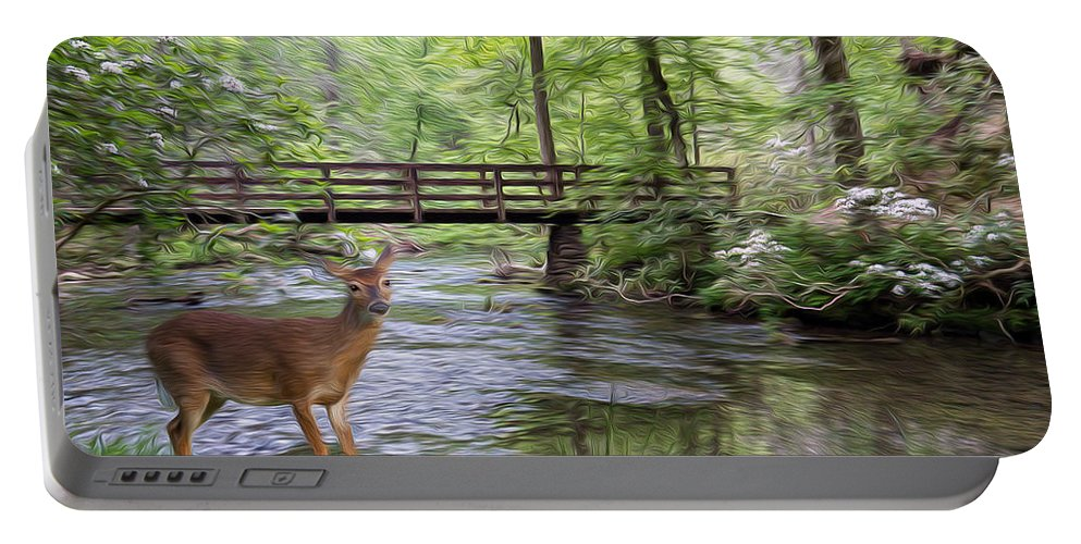 Deer Portable Battery Charger featuring the photograph Alert Deer By Bridge In Cades Cove by Patti Deters