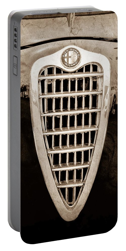 Alfa Romeo Milano Grille Emblem Portable Battery Charger featuring the photograph Alfa Romeo Milano Grille Emblem by Jill Reger