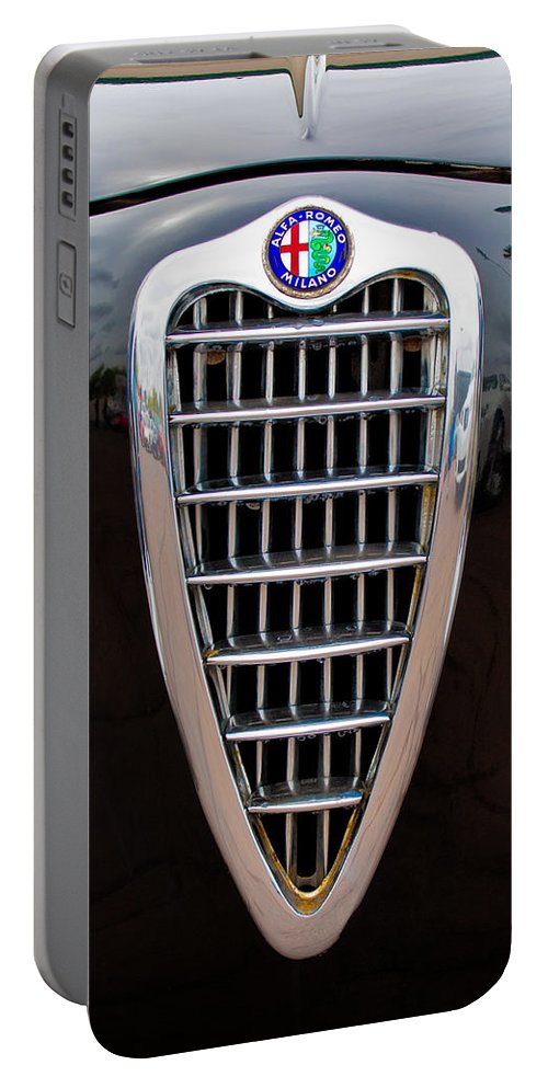 Alfa Romeo Milano Portable Battery Charger featuring the photograph Alfa Romeo Milano Grille by Jill Reger