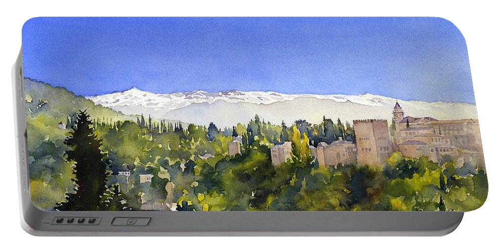Granada Portable Battery Charger featuring the painting Alhambra Granada by Margaret Merry