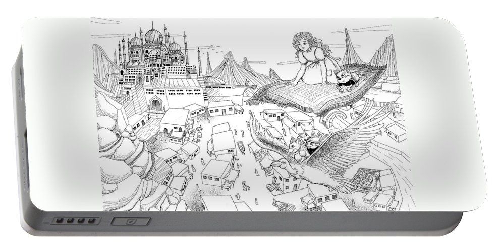 Wurtherington Portable Battery Charger featuring the drawing Ali Baba Cover Sketch by Reynold Jay