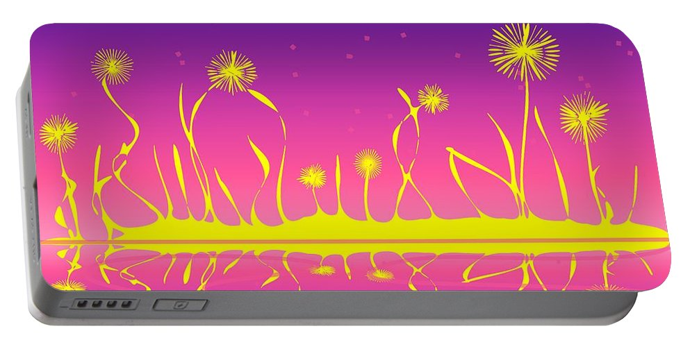 Malakhova Portable Battery Charger featuring the digital art Alien Fire Flowers by Anastasiya Malakhova