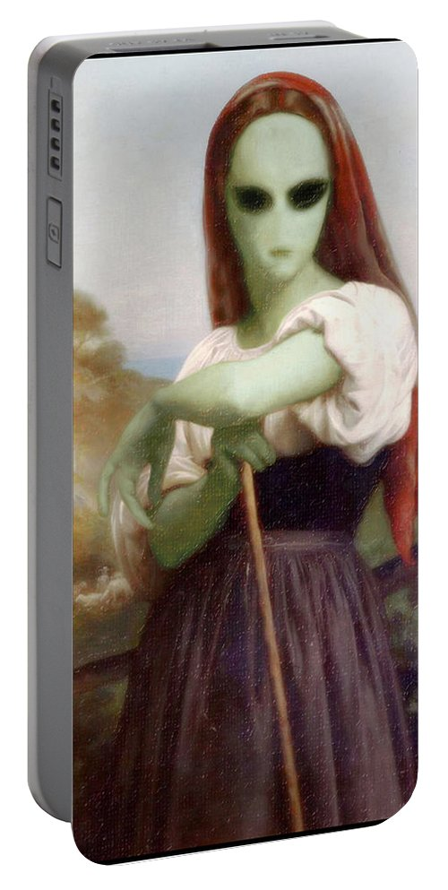 Bouguereau Portable Battery Charger featuring the painting Alien Shepherdess by Gravityx9 Designs