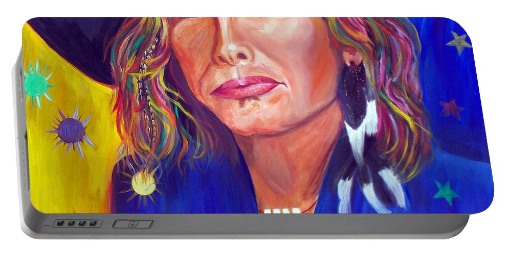 Steven Tyler Portable Battery Charger featuring the painting Alive by To-Tam Gerwe