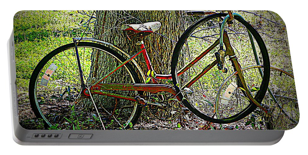 Old Bike Portable Battery Charger featuring the photograph All Bike Out by Sheri McLeroy