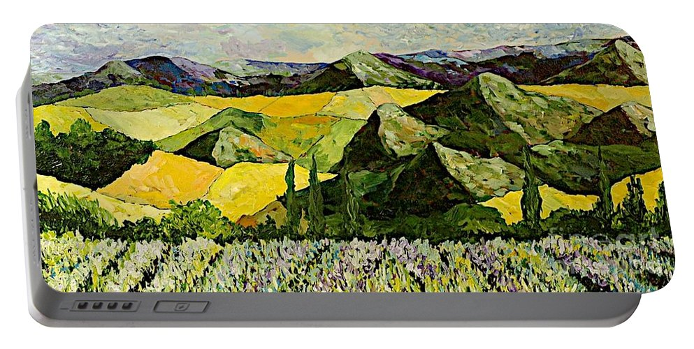 Landscape Portable Battery Charger featuring the painting All Day Long by Allan P Friedlander