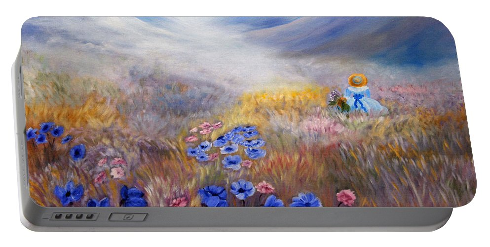 Field Portable Battery Charger featuring the painting All In A Dream - Impressionism by Georgiana Romanovna