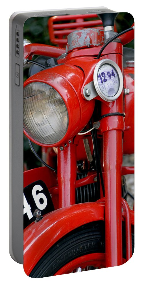 Motorcycle Portable Battery Charger featuring the photograph All Original English Motorcycle by Bob Slitzan