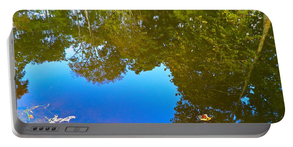 Trees Portable Battery Charger featuring the photograph All Pond Treeflection by Nick Kirby