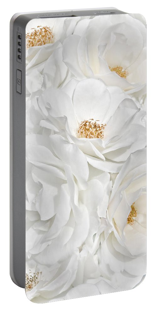 Rose Portable Battery Charger featuring the photograph All The White Roses by Jennie Marie Schell