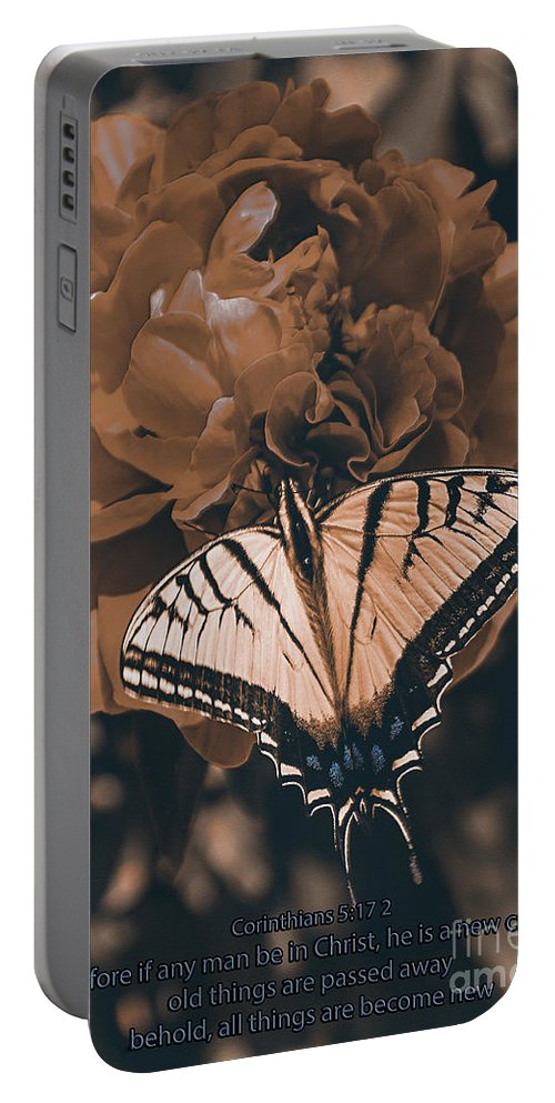 Butterfly Portable Battery Charger featuring the photograph All Things Become New by Janice Rae Pariza