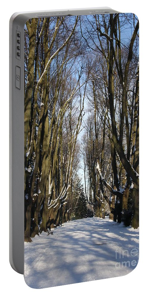 Trees Portable Battery Charger featuring the photograph Alley In The Snow by Christiane Schulze Art And Photography