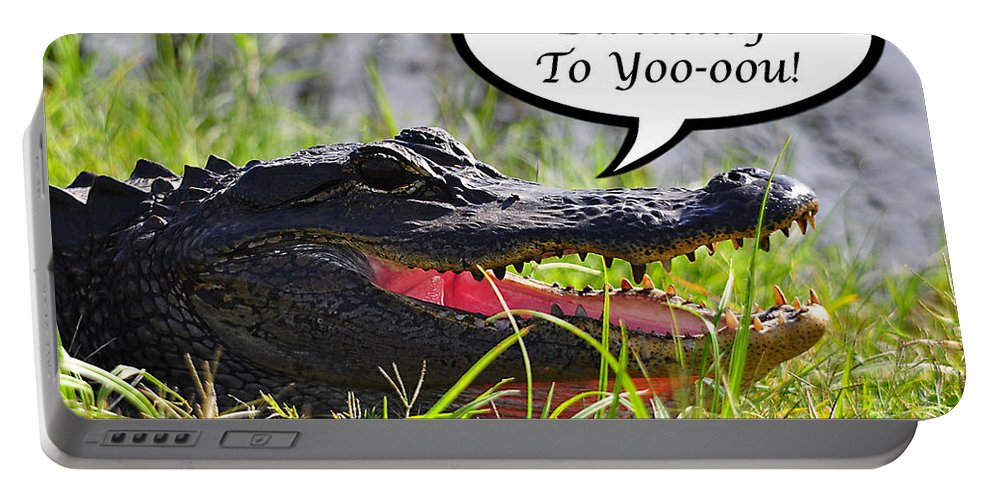 Happy Birthday Card Portable Battery Charger featuring the photograph Alligator Birthday Card by Al Powell Photography USA