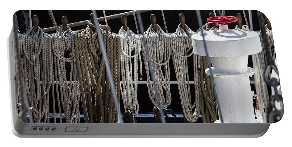 Ship Portable Battery Charger featuring the photograph Allowed To Sail by Edgar Laureano
