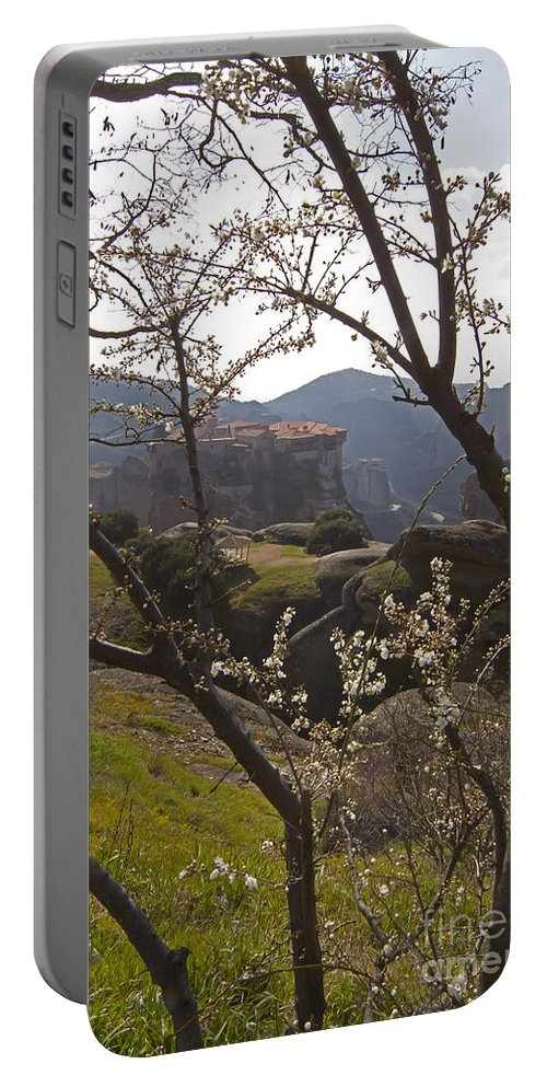 Almond Tree Portable Battery Charger featuring the photograph Almond Tree And Monastery  #9815 by J L Woody Wooden