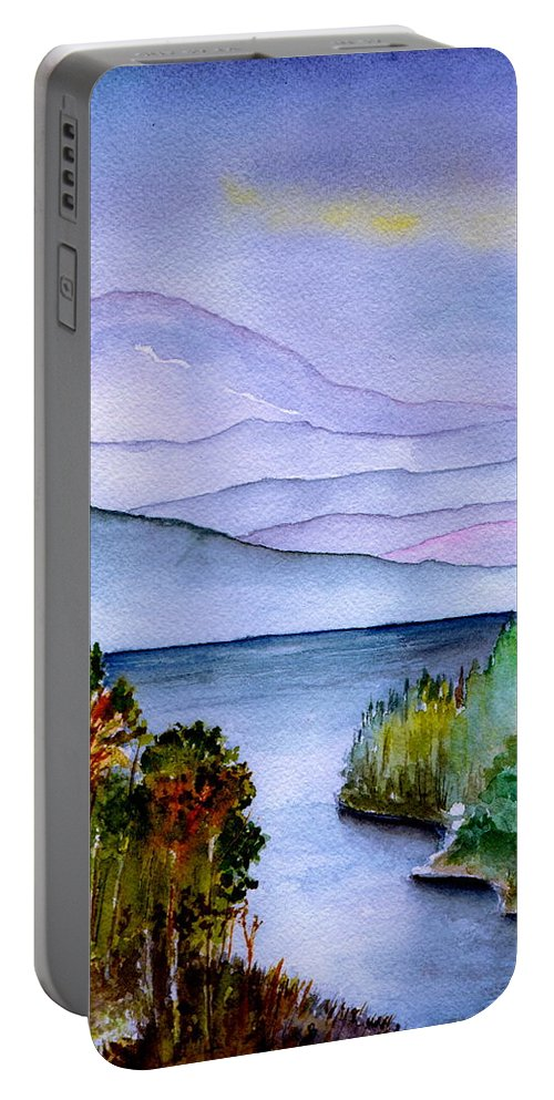 Landscape Portable Battery Charger featuring the painting Almost Autumn by Brenda Owen