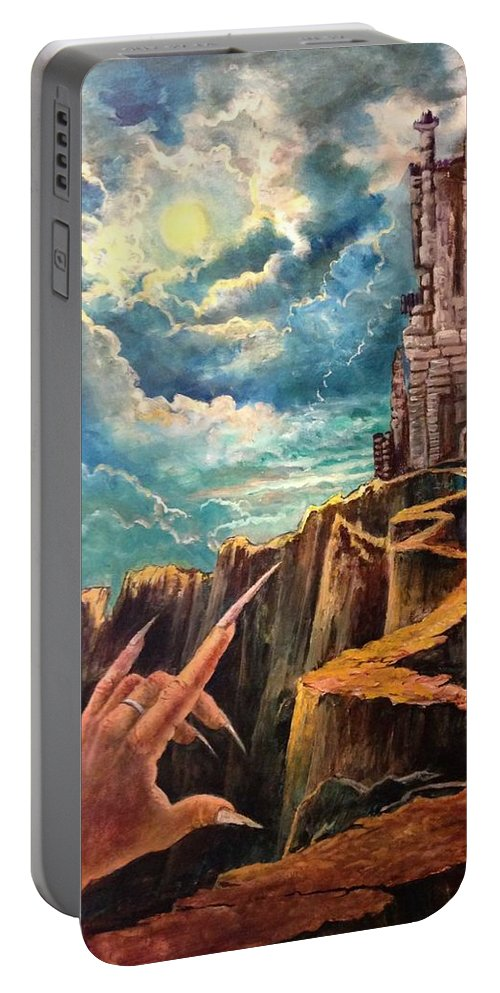 Halloween Portable Battery Charger featuring the painting The Window by Randy Burns
