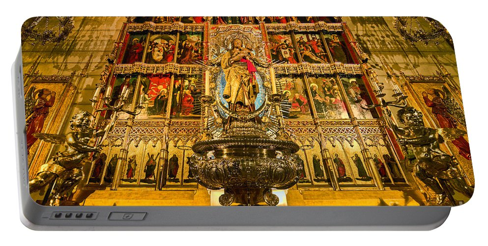 Almudena Portable Battery Charger featuring the photograph Almudena Cathedral by John Greim