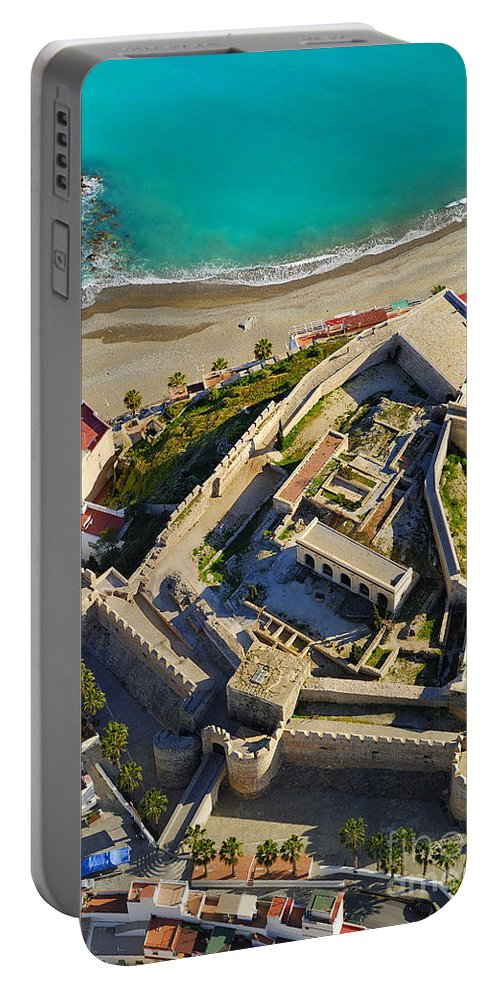Architecture Portable Battery Charger featuring the photograph Almunecar Castle From The Air by Guido Montanes Castillo
