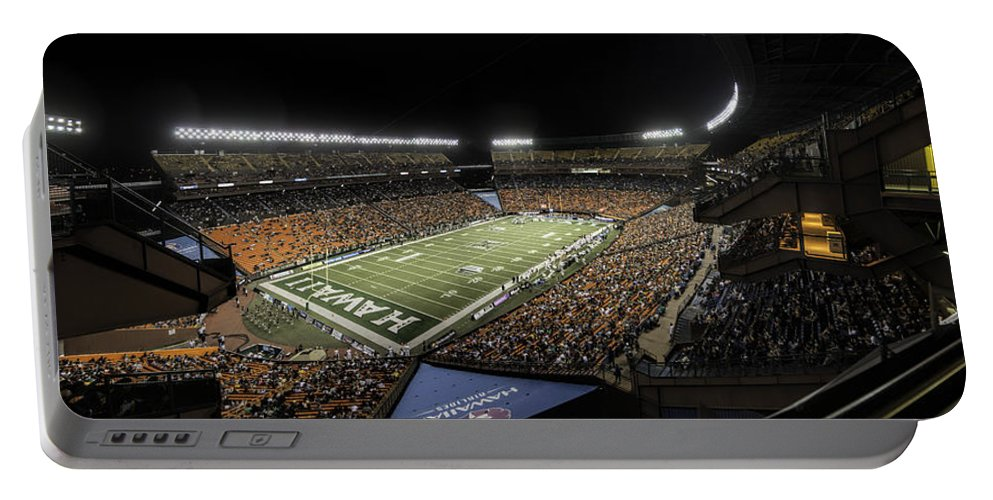 Hawaii Portable Battery Charger featuring the photograph Aloha Stadium Night Game by Dan McManus