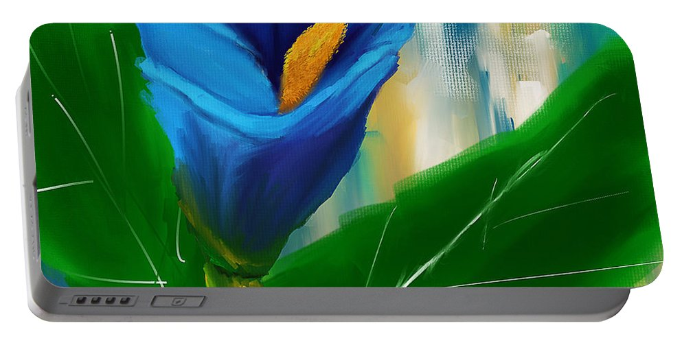 Blue Calla Lily Portable Battery Charger featuring the painting Alone In Blue- Calla Lily Paintings by Lourry Legarde